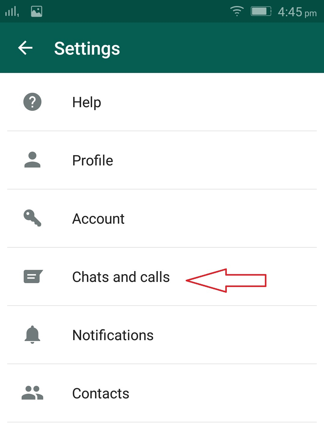 Click On Chats and Calls